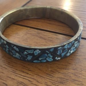 Brass blue chip Inlayed bangle bracelet